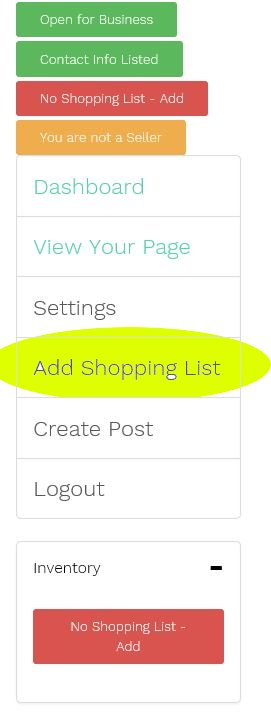 "Click the ""Add Shopping List"" Button to bring up the food list."